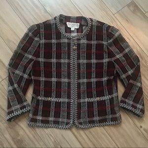 St. John Collection Plaid Zip Blazer Jacket